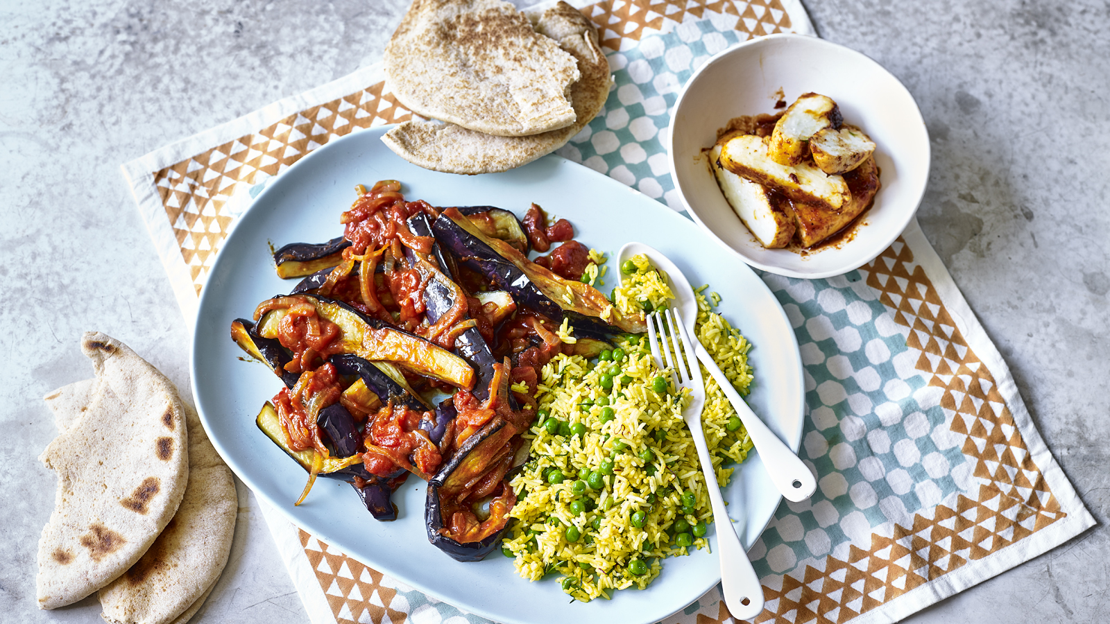 Aubergines In Tamarind Sauce With Baked Halloumi Recipe Bbc Food
