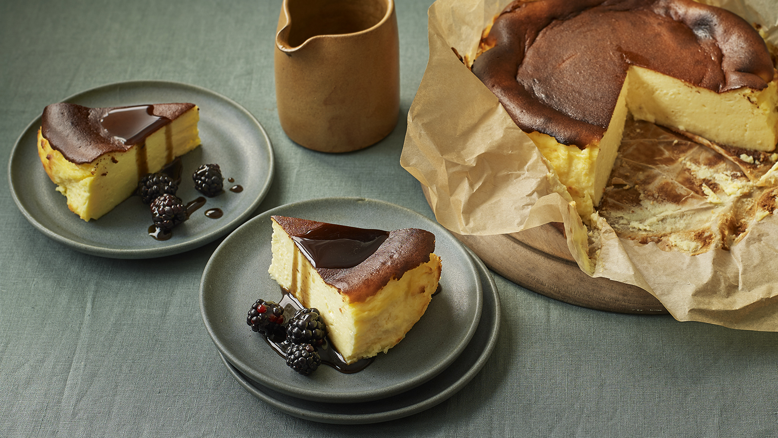 Basque Burnt Cheesecake With Liquorice Sauce Recipe Bbc Food
