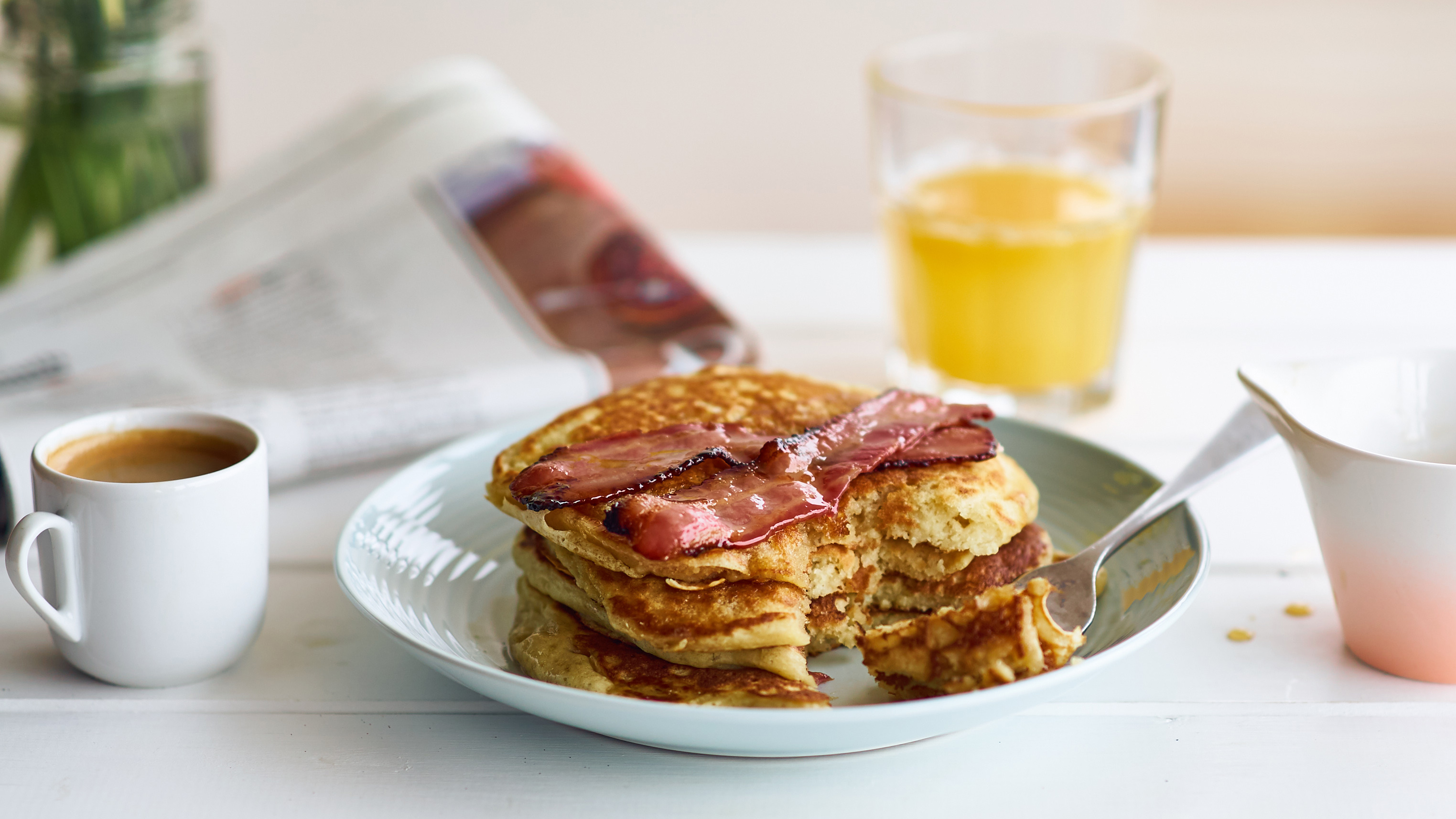 Buttermilk pancakes with maple bacon recipe bbc food forumfinder Choice Image