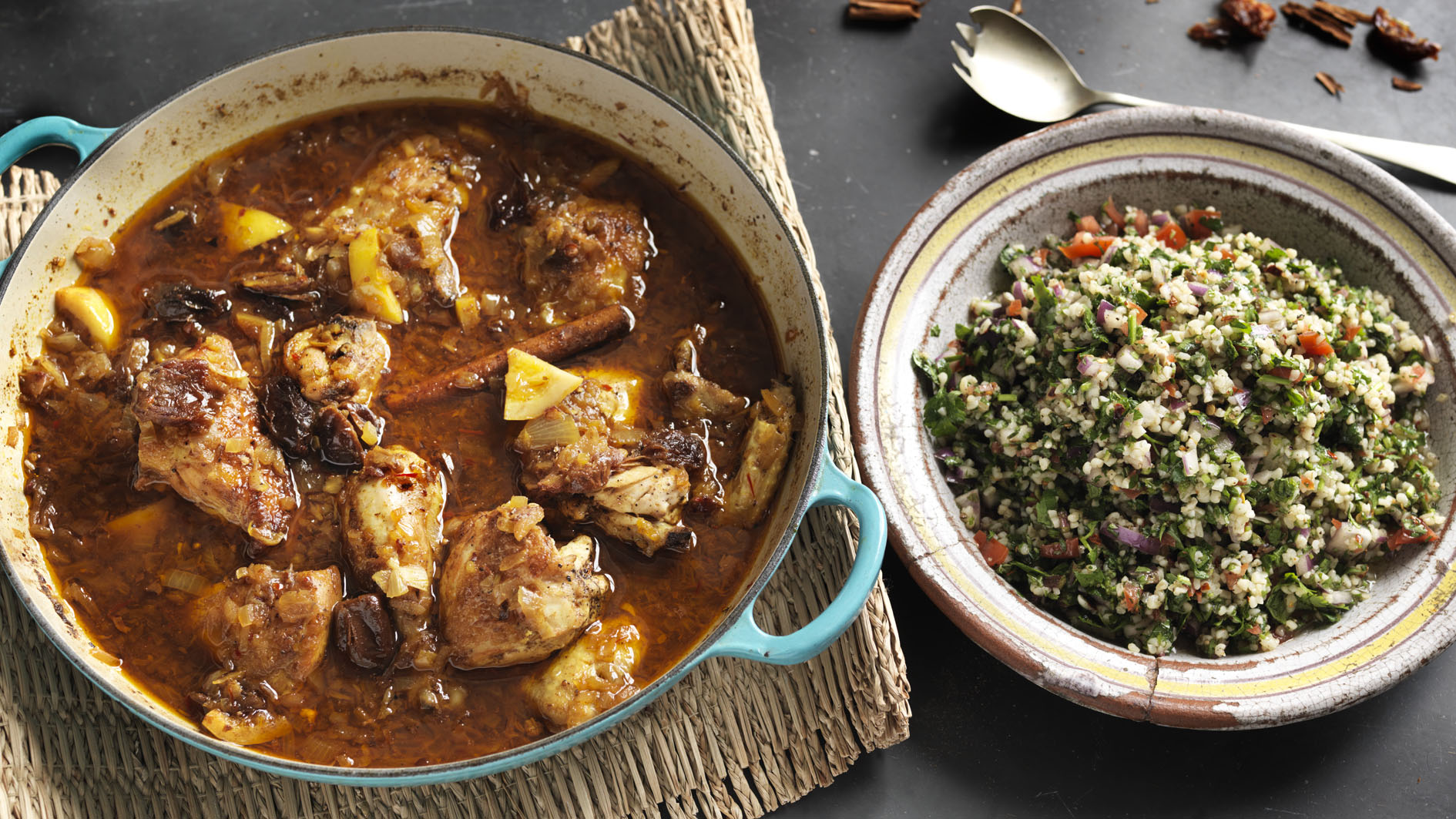 Chicken and lemon tagine with herby tabbouleh recipe bbc food forumfinder Choice Image