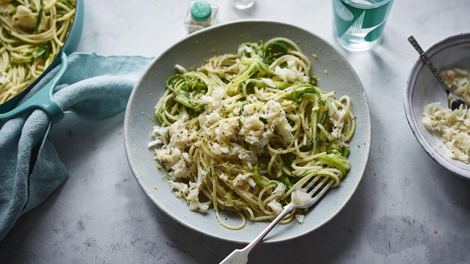 Crab And Courgette Pasta Recipe Bbc Food