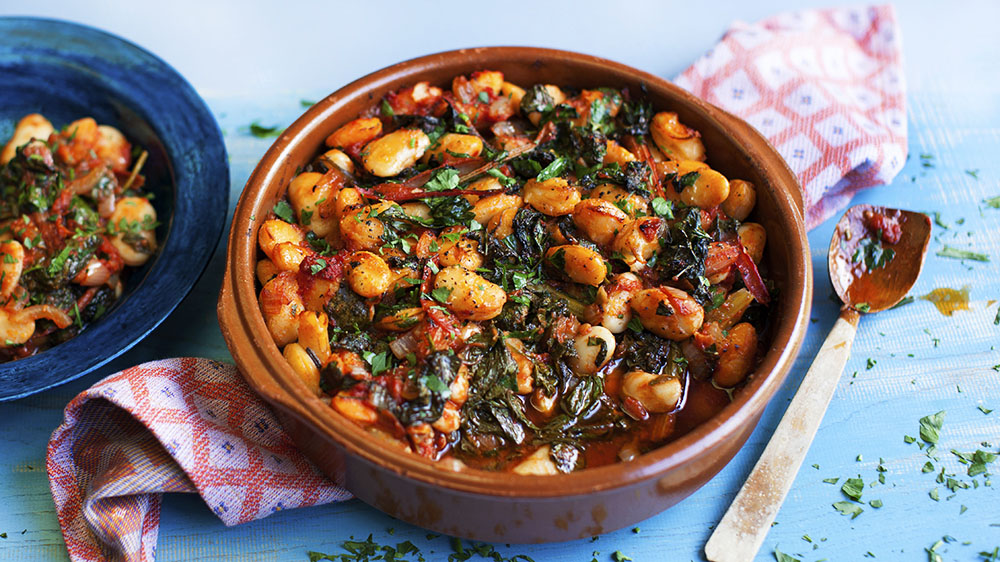 Gigantes With Tomatoes And Greens Recipe Bbc Food