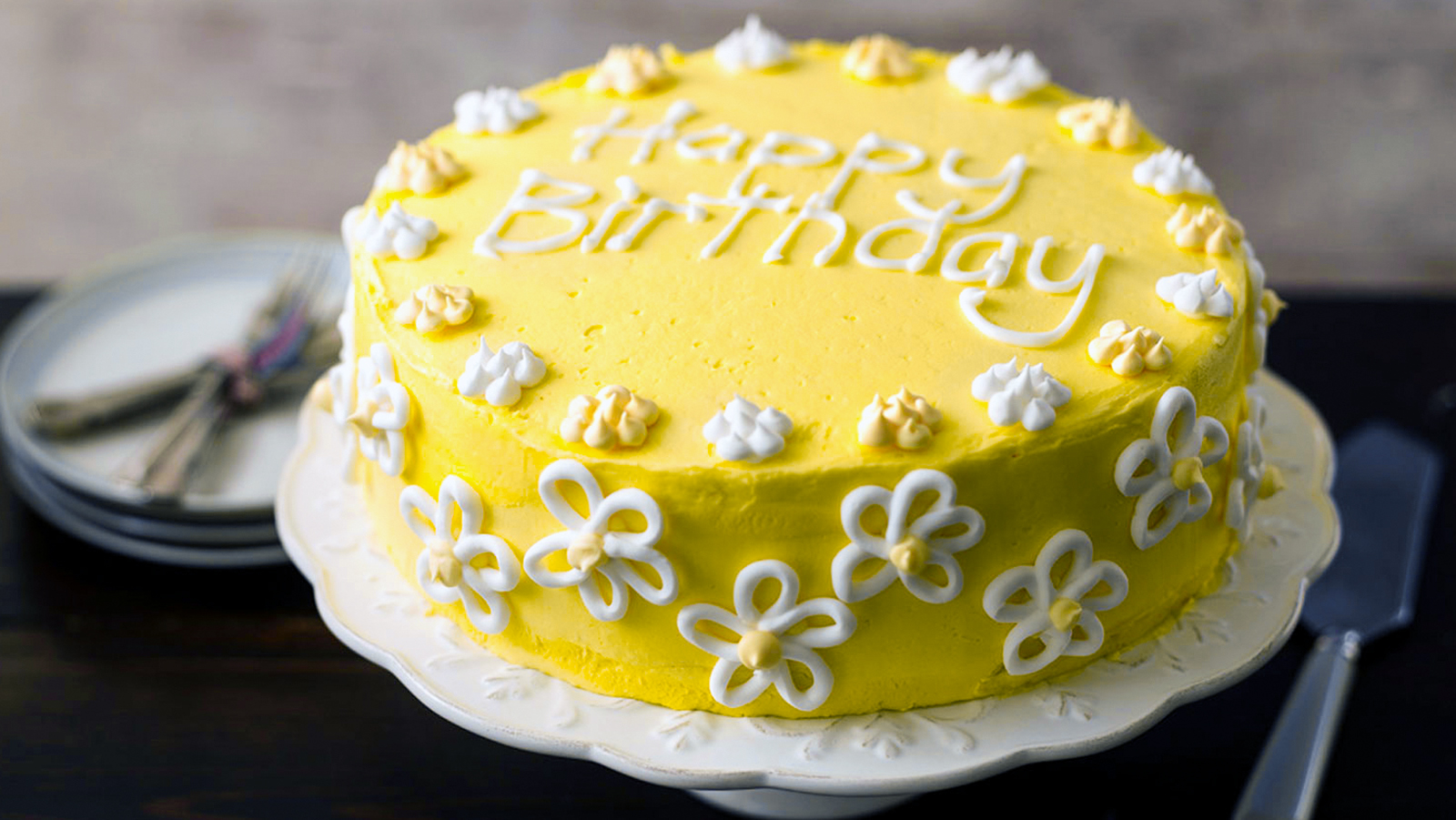 Super Flowery Birthday Cake Recipe Bbc Food Funny Birthday Cards Online Fluifree Goldxyz