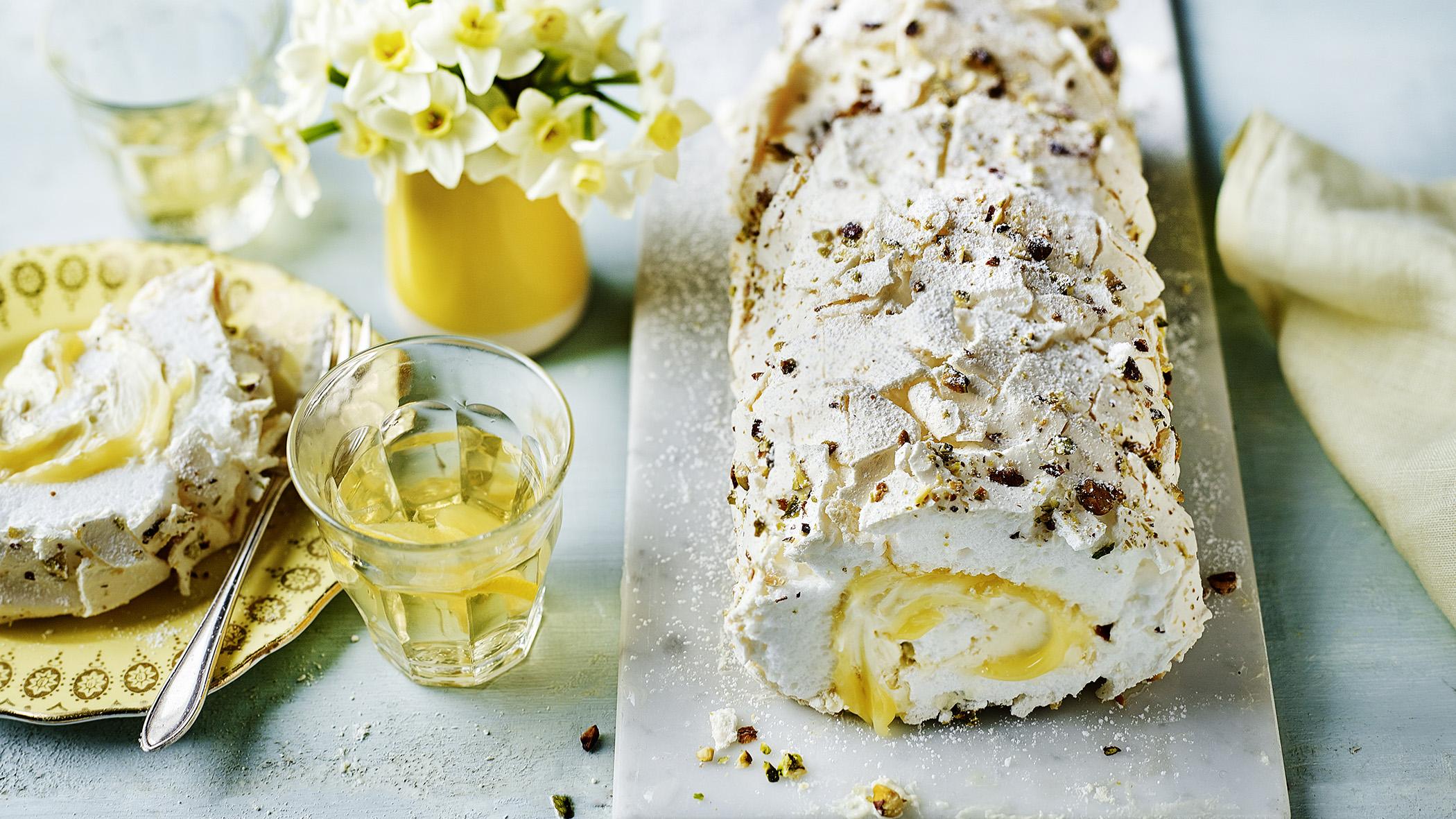Lemon Curd And Pistachio Meringue Roulade Recipe Bbc Food