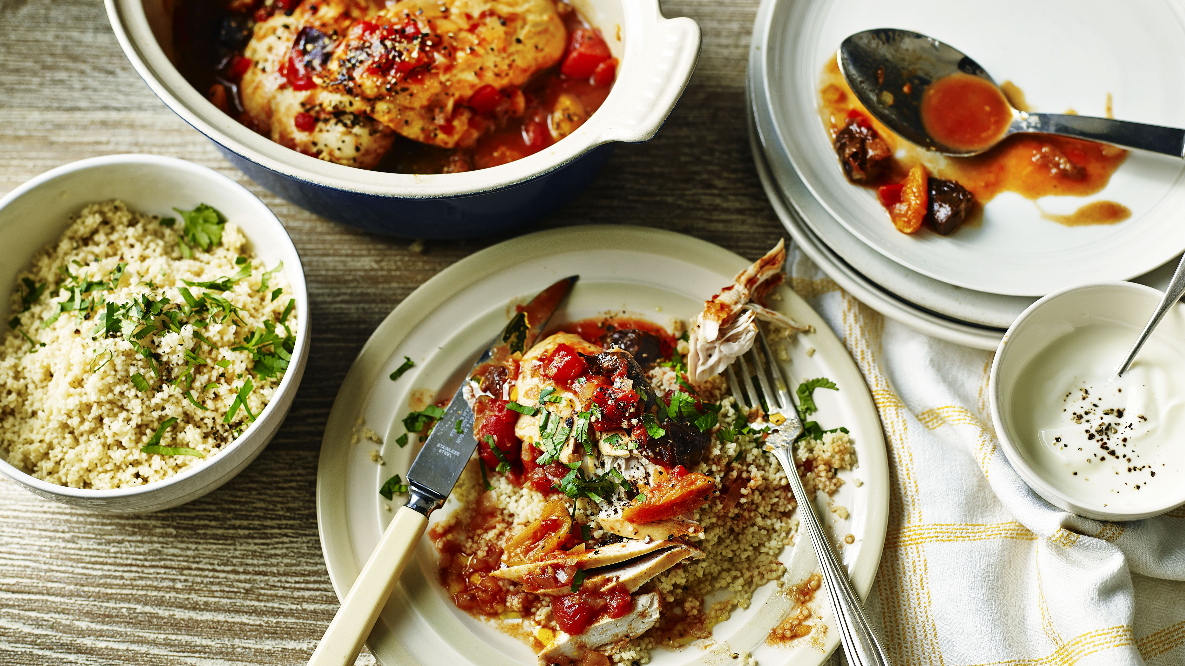 Moroccan style chicken with couscous and yoghurt recipe bbc food forumfinder Image collections