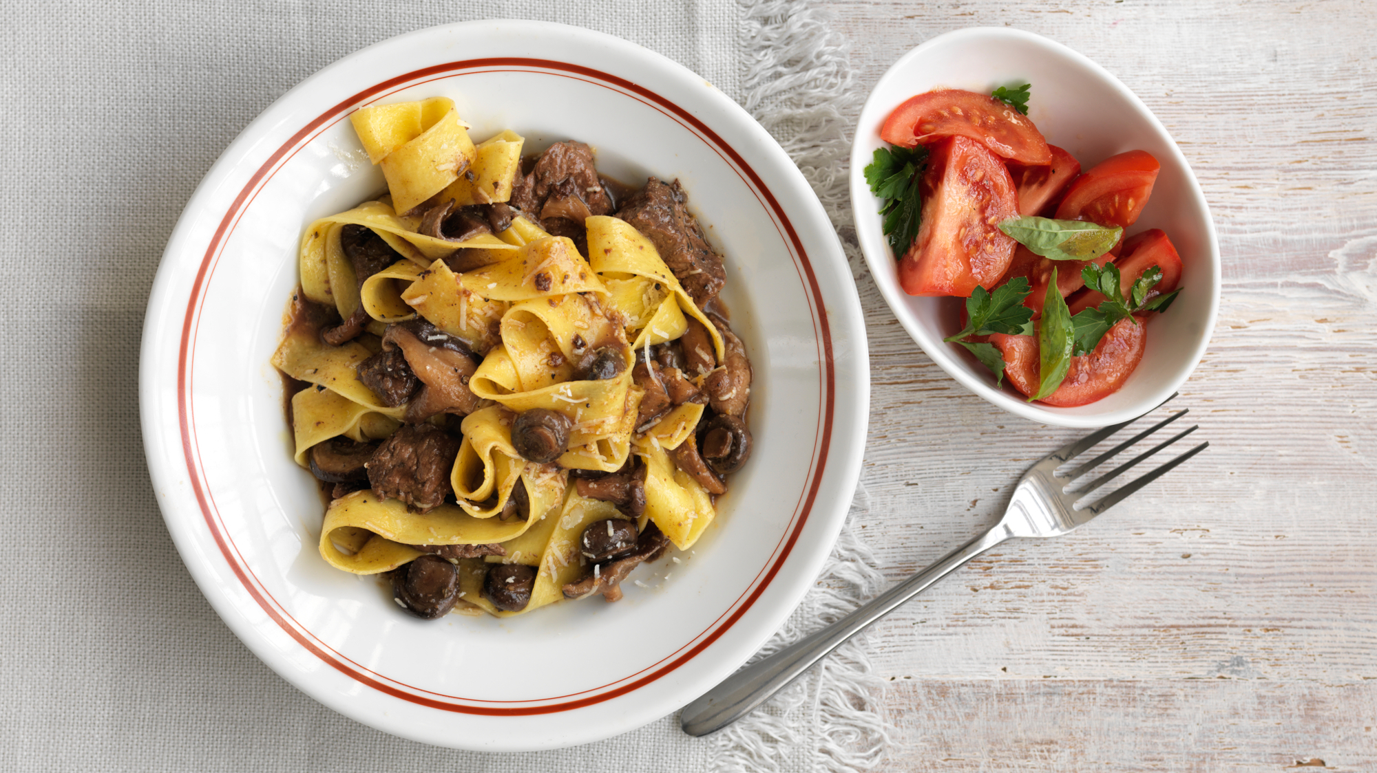 pappardelle with slow cooked beef and mushrooms recipe bbc food