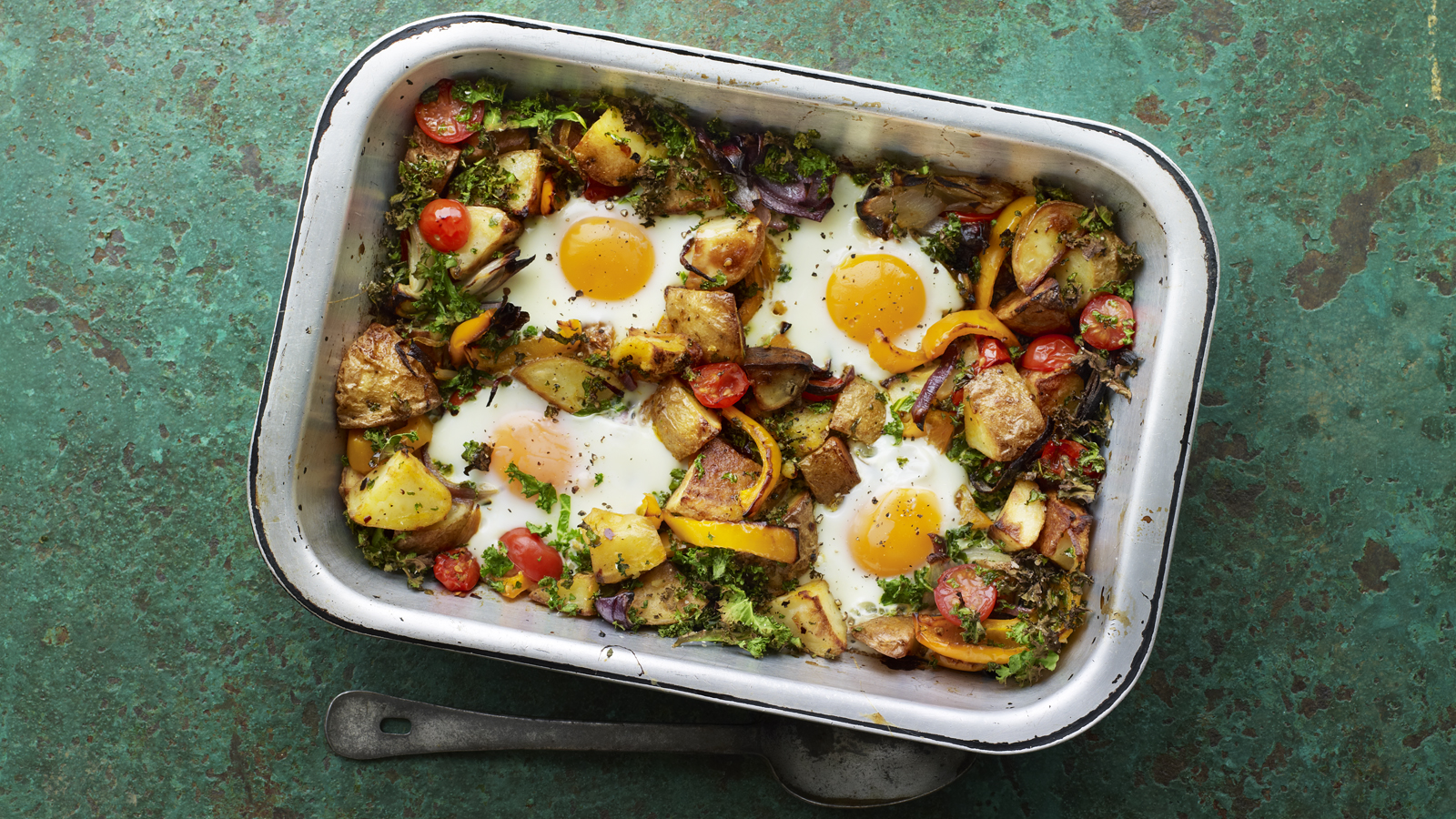 Potato Hash With Tomatoes Pepper And Kale Recipe Bbc Food