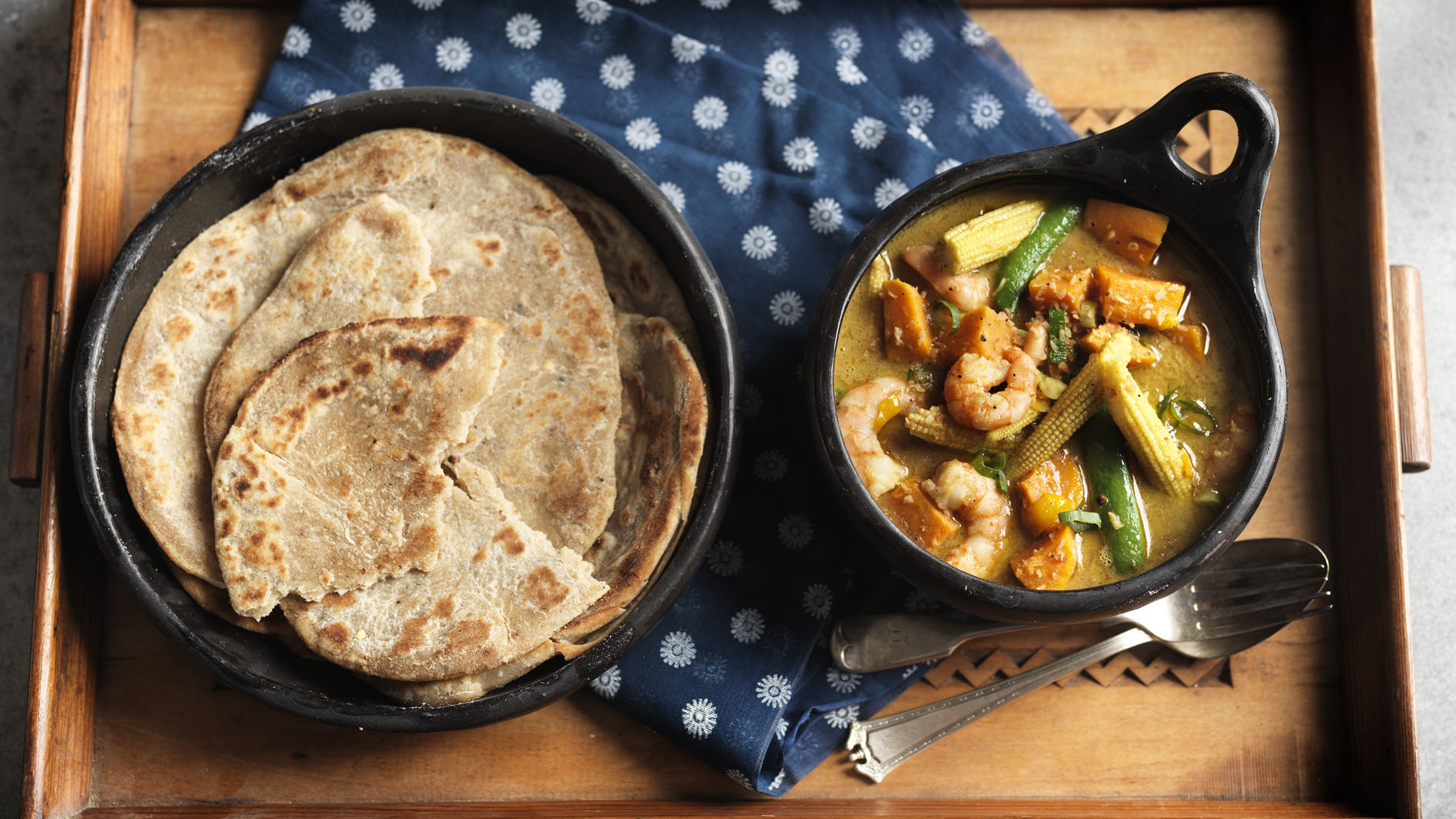 Prawn Sweet Potato And Lime Curry With Chilli And Black Pepper Roti Bread