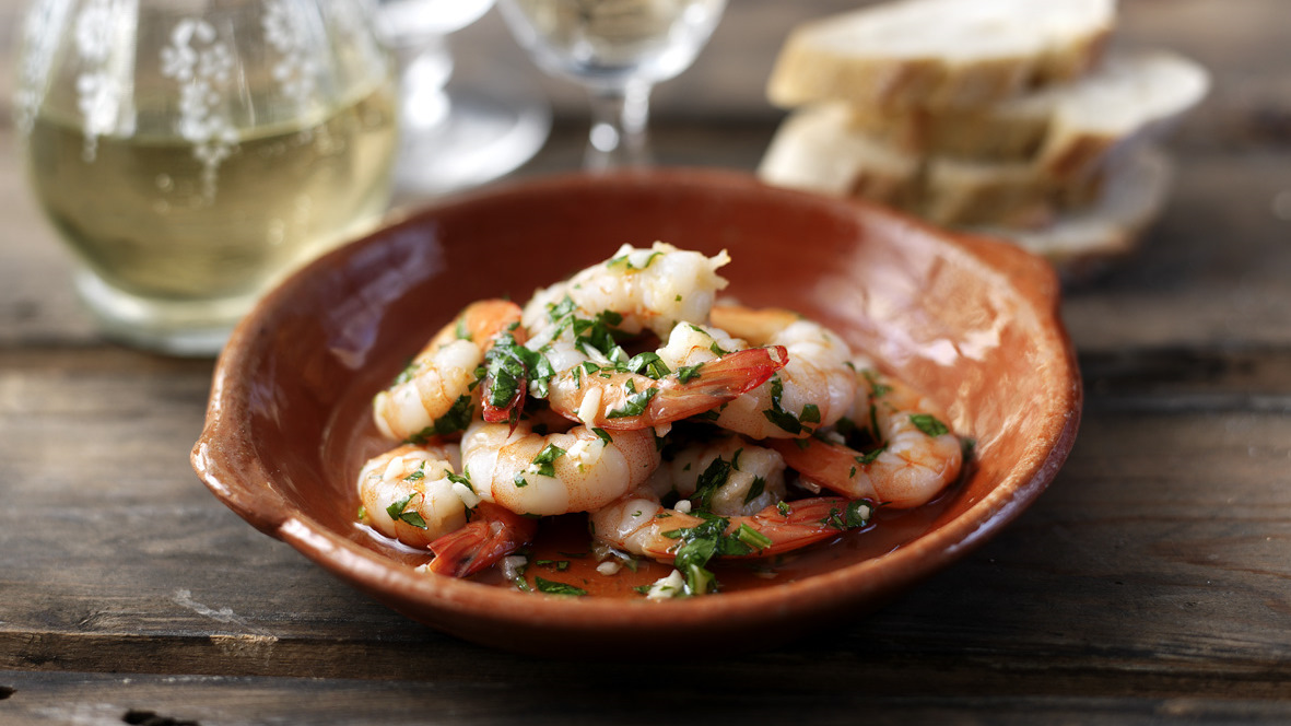 prawns with garlic butter recipe bbc food