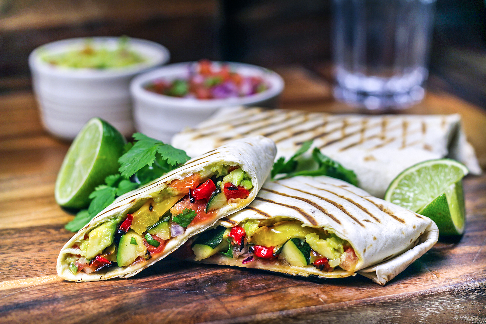 Grilled vegetable wraps with salsa and guacamole recipe bbc food forumfinder Image collections