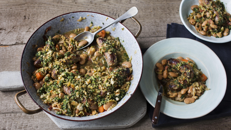 Quick sausage casserole with savoy cabbage pesto recipe bbc food forumfinder Gallery