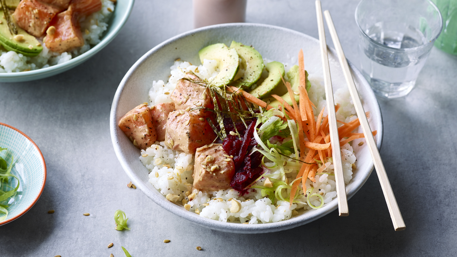 Nadiya S Salmon Poke Bowls Recipe Bbc Food