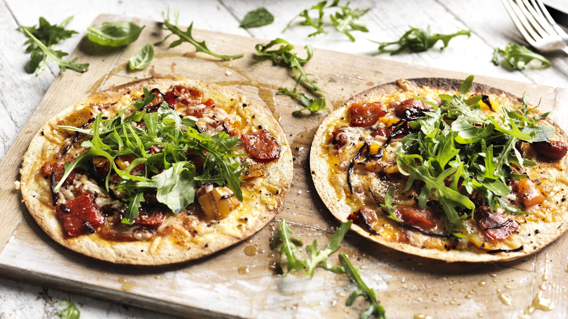 Simple tortilla pizzas recipe bbc food forumfinder Gallery