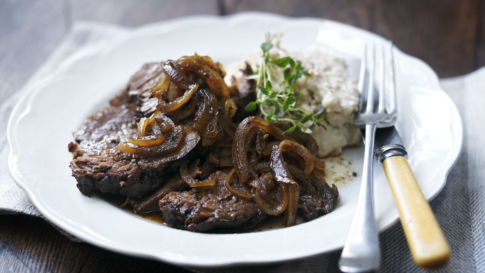 Slow Cooker Beef Brisket With Bean Mash