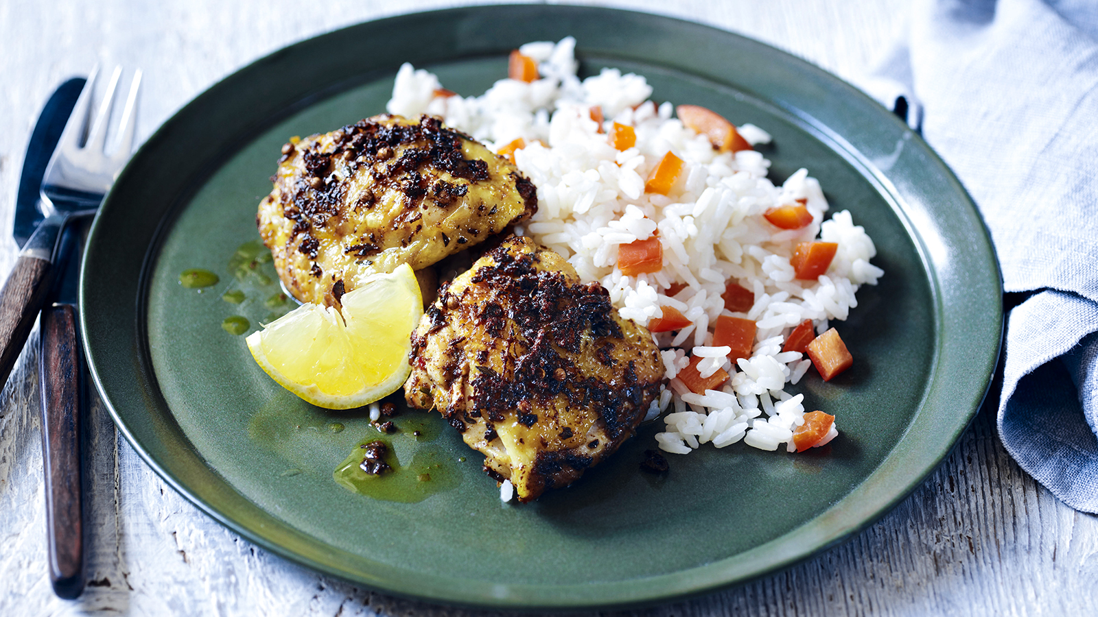 Spicy jerk chicken thighs with peppers and rice recipe bbc food forumfinder Gallery