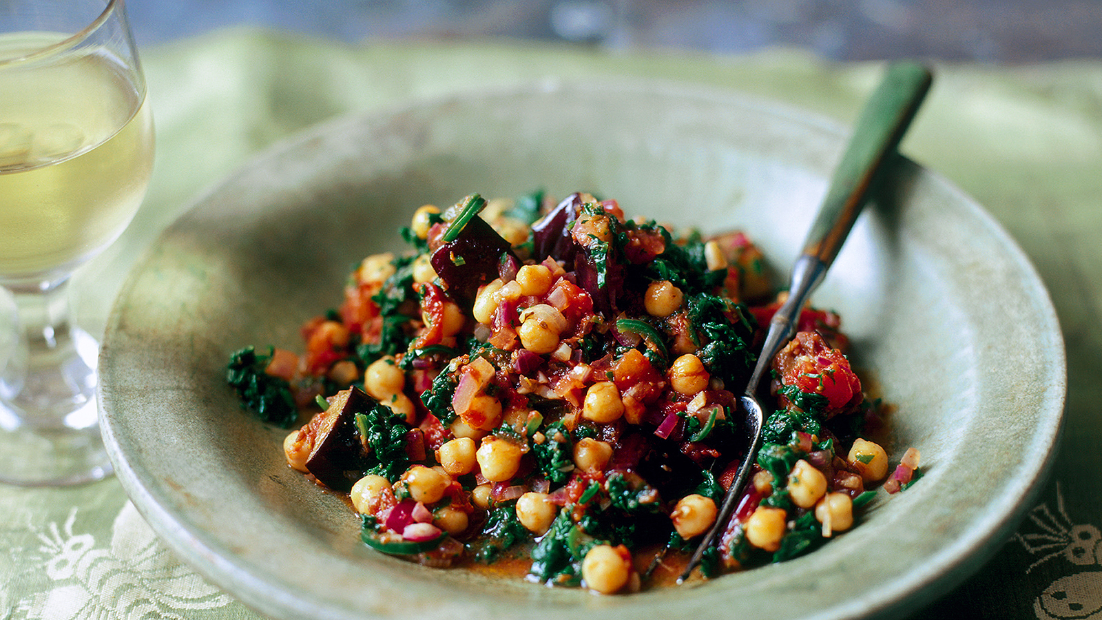 Spinach Aubergine And Chickpea Curry