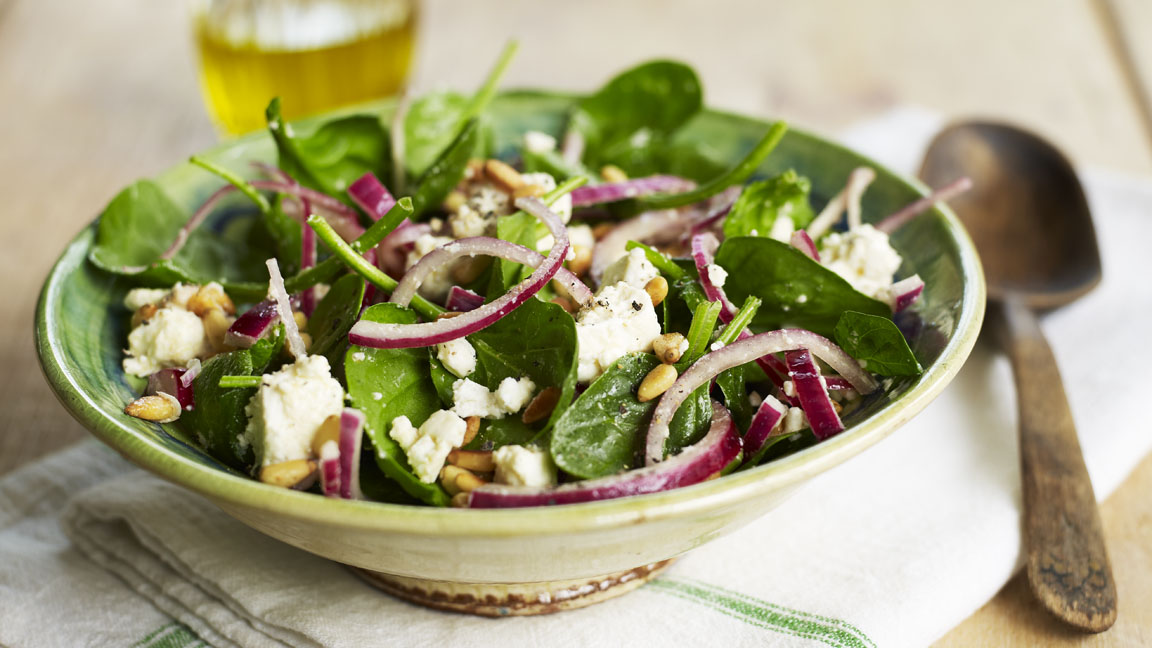 Spinach Feta And Pine Nut Salad Recipe Bbc Food
