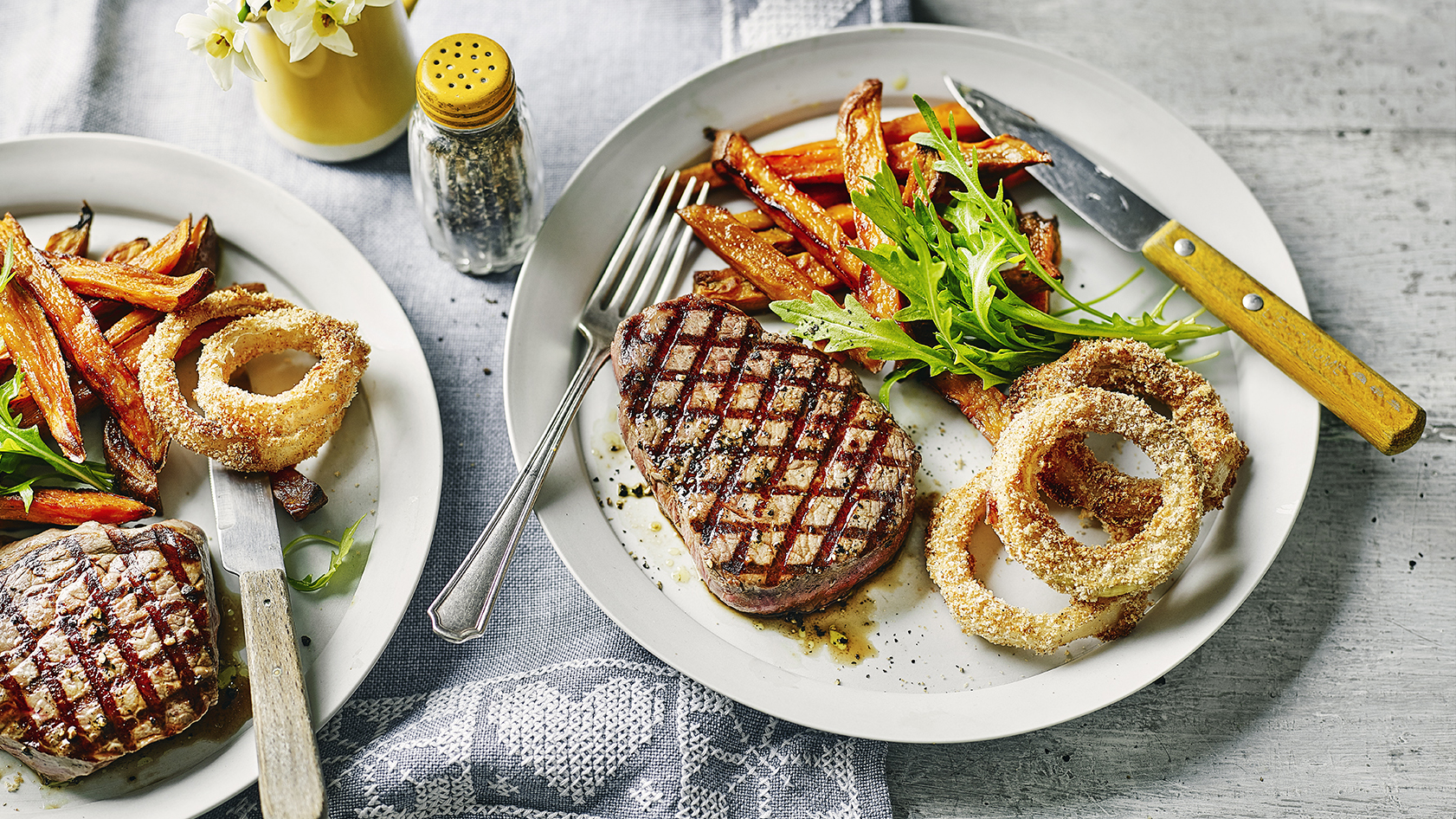 Steak sweet potato fries and baked onion rings recipe bbc food forumfinder Gallery