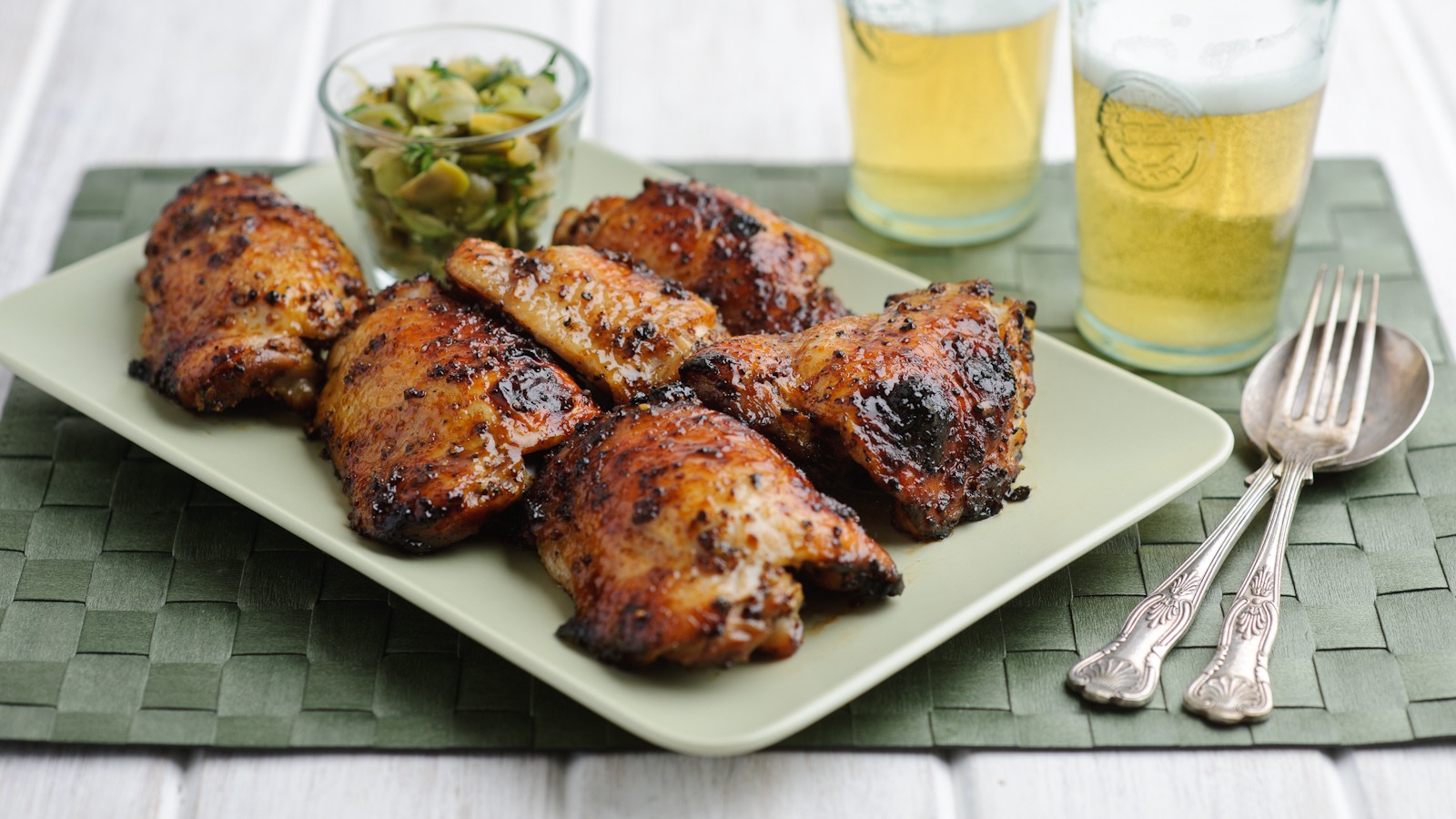 Sticky Chicken Thighs With Lemon And Honey Recipe Bbc Food