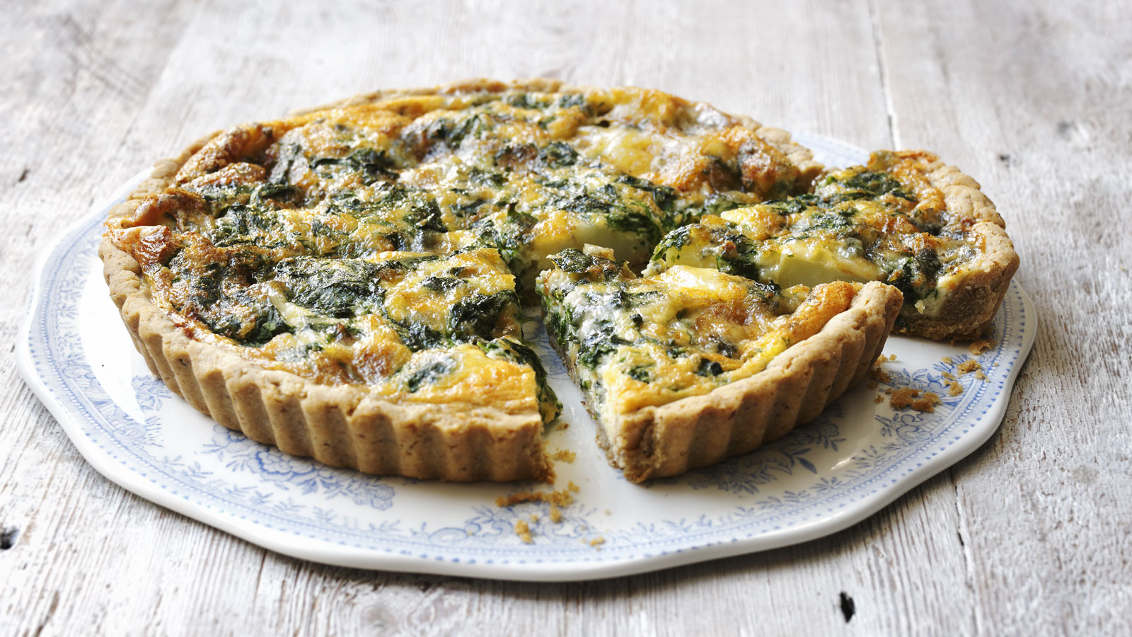 Stilton Spinach And New Potato Quiche With Walnut Pastry Recipe Bbc Food