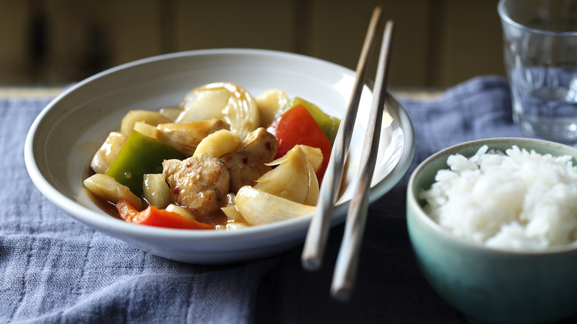 Bbc food recipes sweet and sour chicken sweet sour chicken recipe sweet sour chicken skewers with fruity noodles recipe bbc good food forumfinder Choice Image