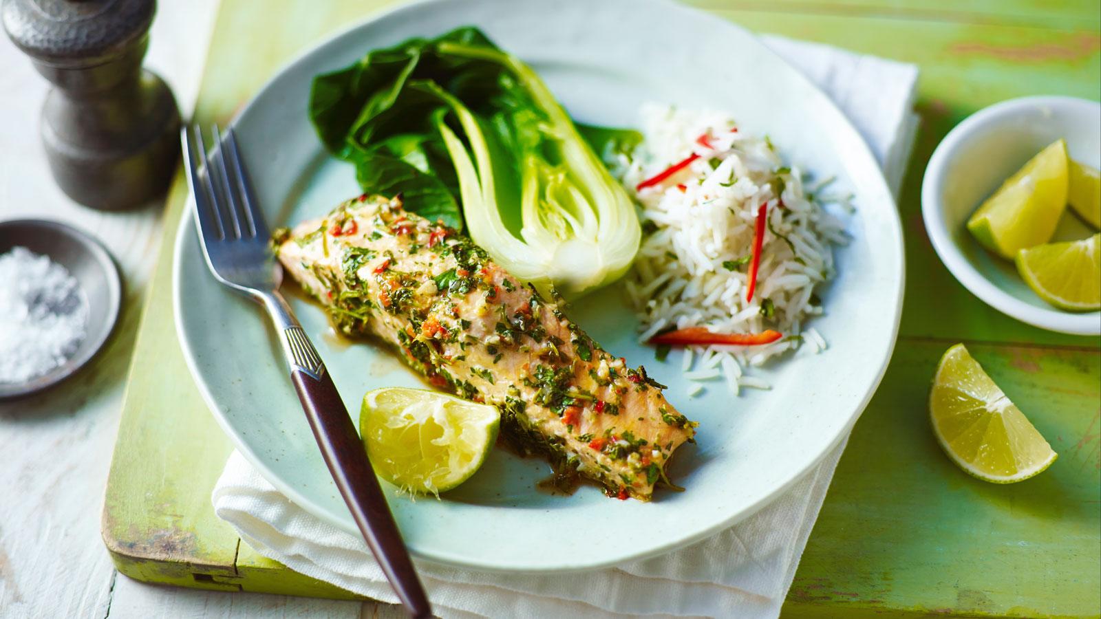 Thai steamed salmon recipe bbc food forumfinder Choice Image