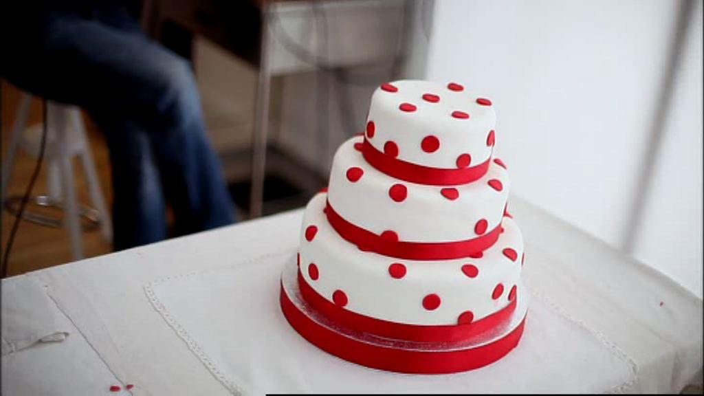 Red Velvet Wedding Cake.Three Tier Red Velvet Cake