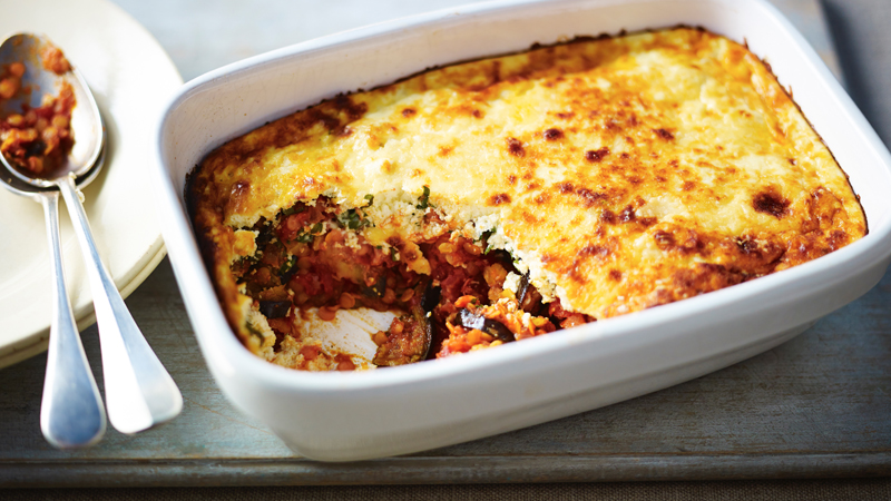 Red Lentil And Aubergine Moussaka Recipe Bbc Food